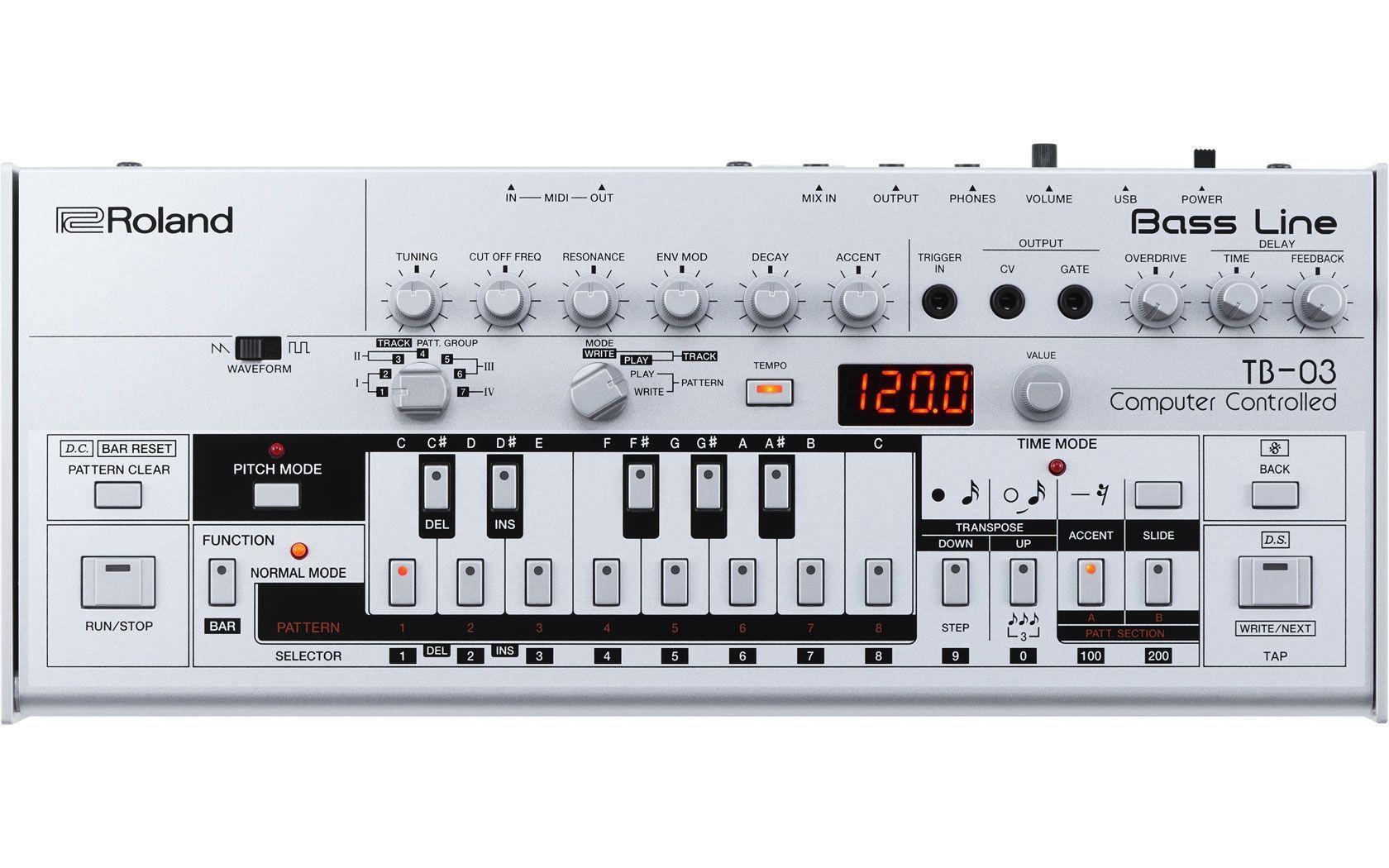 Roland TB-03 Bass-Line Synthesizer mit 24bit/96kHz USB-Audio Interface