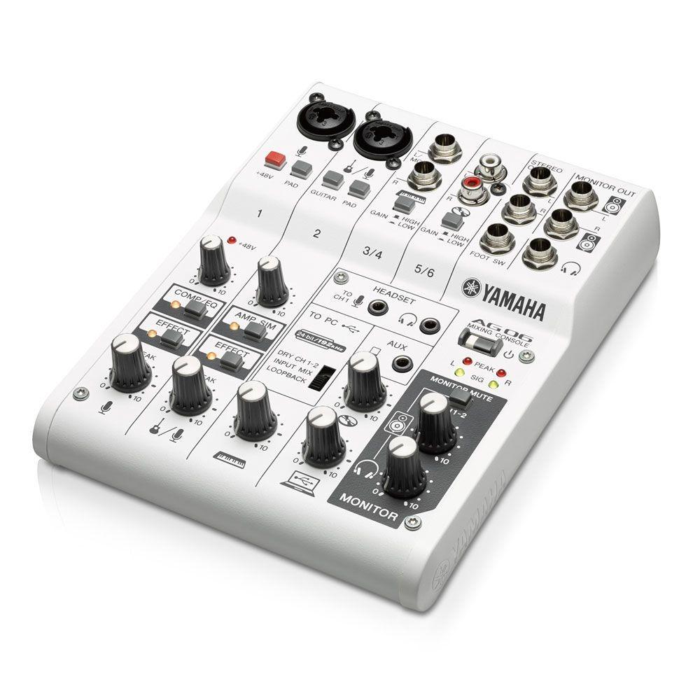 Yamaha AG06 Mixer mit internem USB 2.0 Audiointerface für PC/Mac und iPad