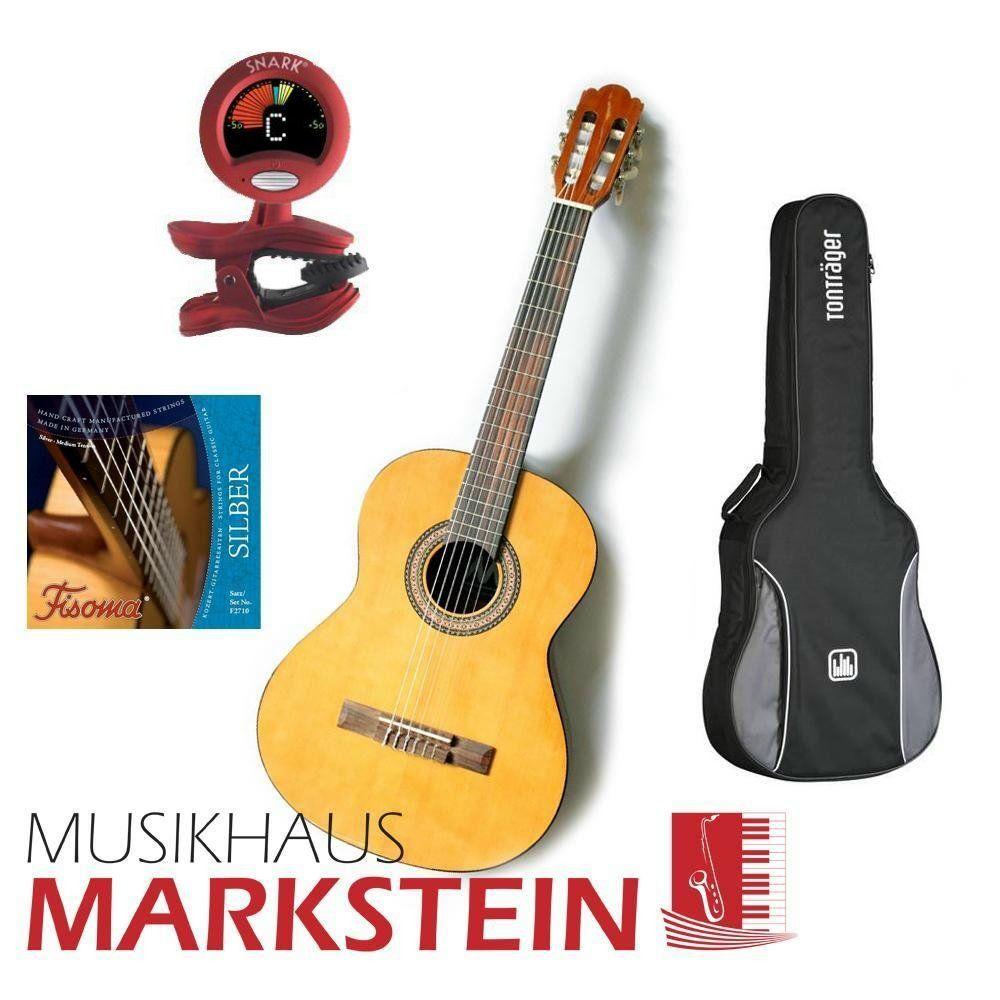 MarkGuitar Konzertgitarren SET Start II Paket: Gitarre, Tasche, Tuner & Saiten