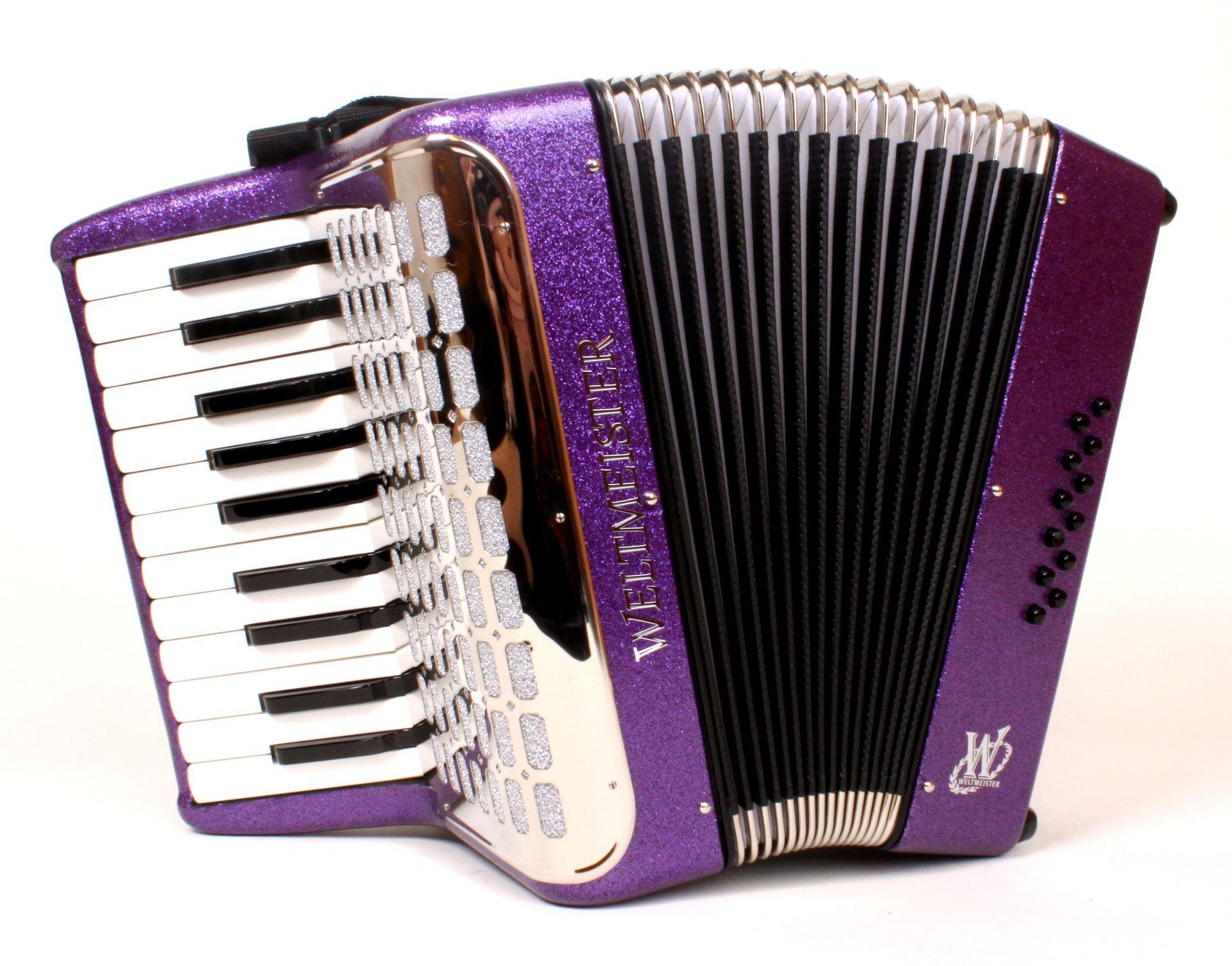 Weltmeister Mini Kinderakkordeon MIT mit Rucksack  22/12/1  Violett Flitter