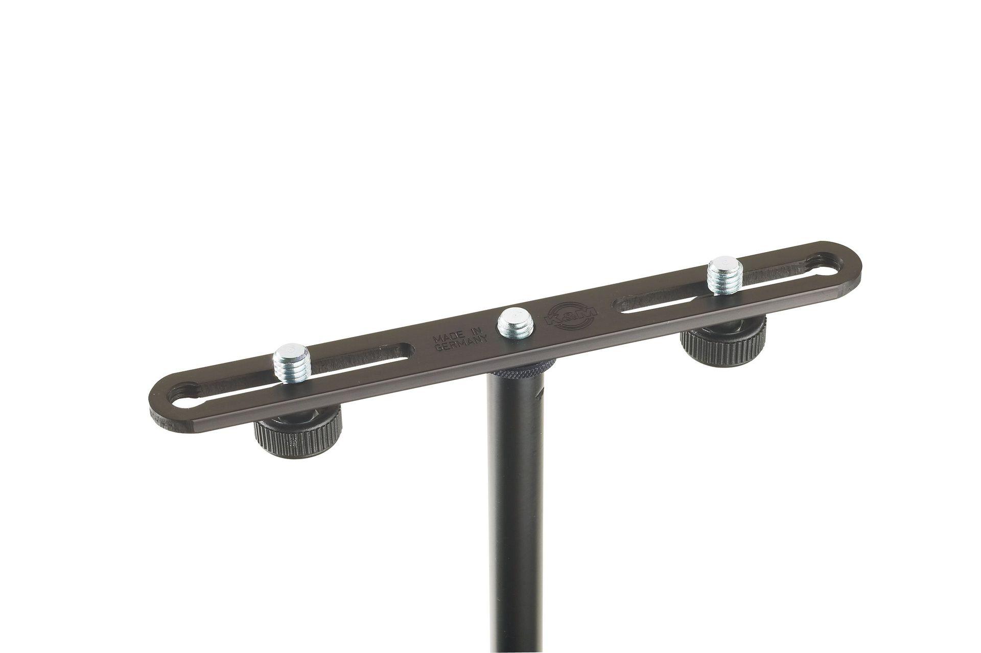 K&M 23550 Ergänzungsschiene, Stereoschiene für 2 Mikrofone, 200mm lang