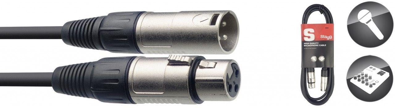 Mikrofonkabel  XLR male/female, 10 Meter, schwarz