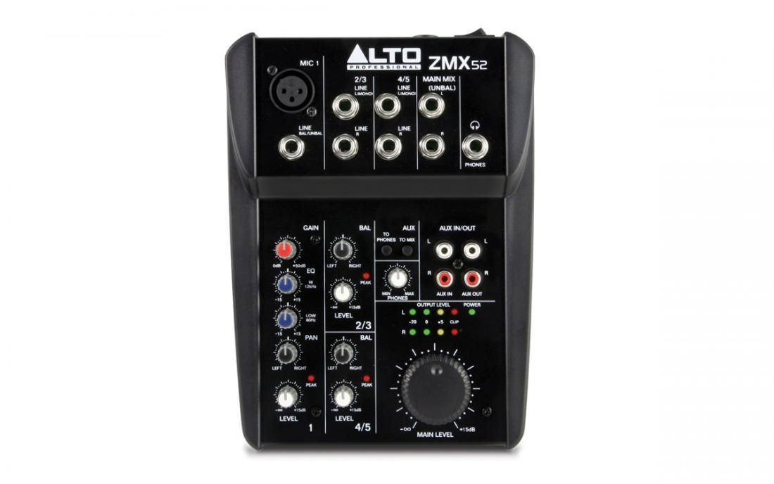 Alto ZMX52  ZEPHY KleinMixer, 1 Mikrofoneingang, 2 Stereoinputs, 18V-Phantom, EQ