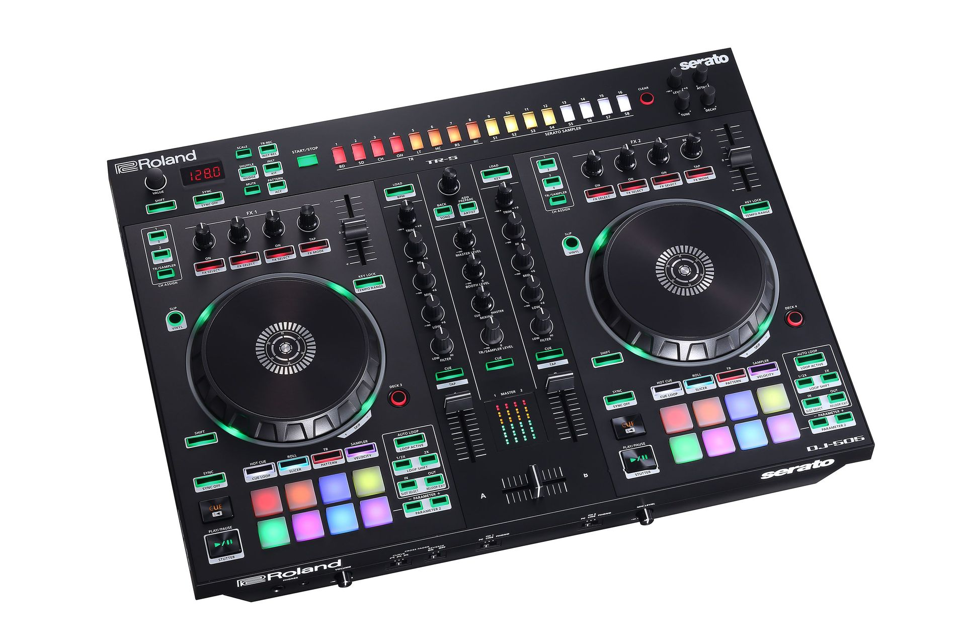 Roland DJ-505  2-Kanal DJ Controller für Serato DJ mit vier Decks