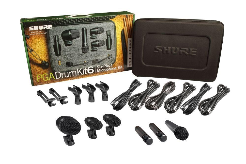 Shure PGA Drumkit 6 Drum Mikrofon Set inkl. Koffer, Mikrofonkabel und Tom-Halter