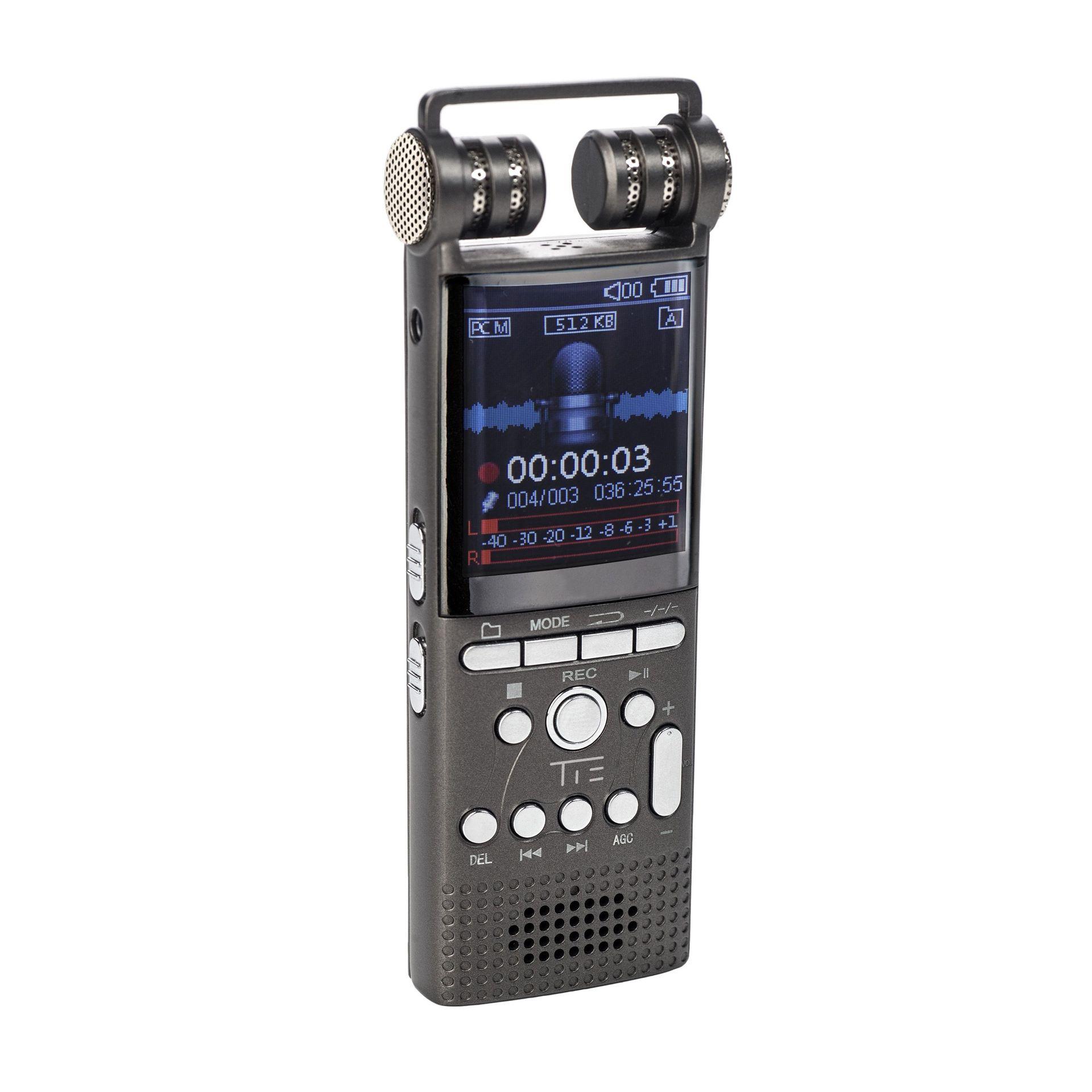 TIE Mobile Digitalrecoder Handyrecorder mit Metallgehäuse inkl. Lavaliermikrofon