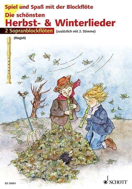 Noten Die schönsten Herbst- & Winterlieder 2 Sopranblockflöten ED 20001-50 & CD