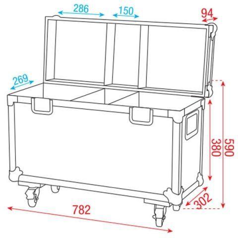 Showtec Case für 2x Phantom 25, 50, 65 LED Spot Movinghead Case mit Rollenbrett