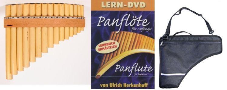 Panflöte Lernen- Beginner-Set mit Panflöte, gepolsterter Tragetasche, Lern-DVD