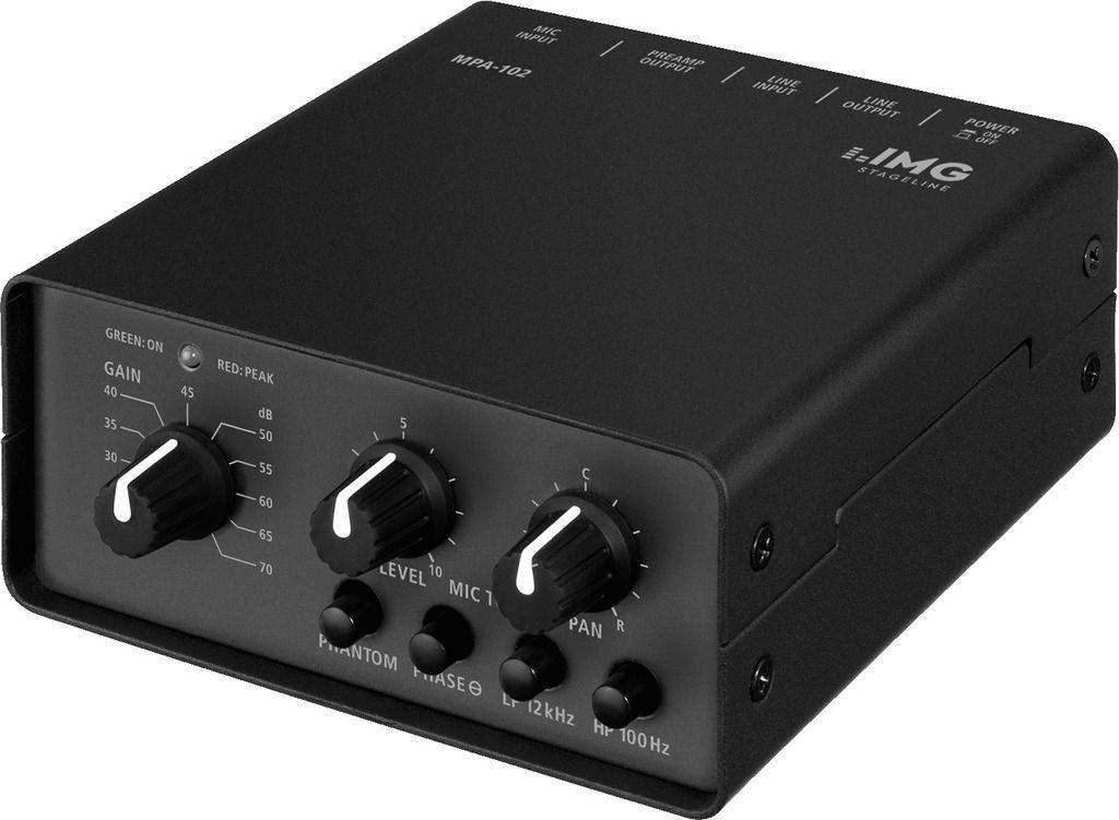 IMG Stage Line MPA-102 1-Kanal Low-Noise Mikrofon-Vorverstärker, Preamp