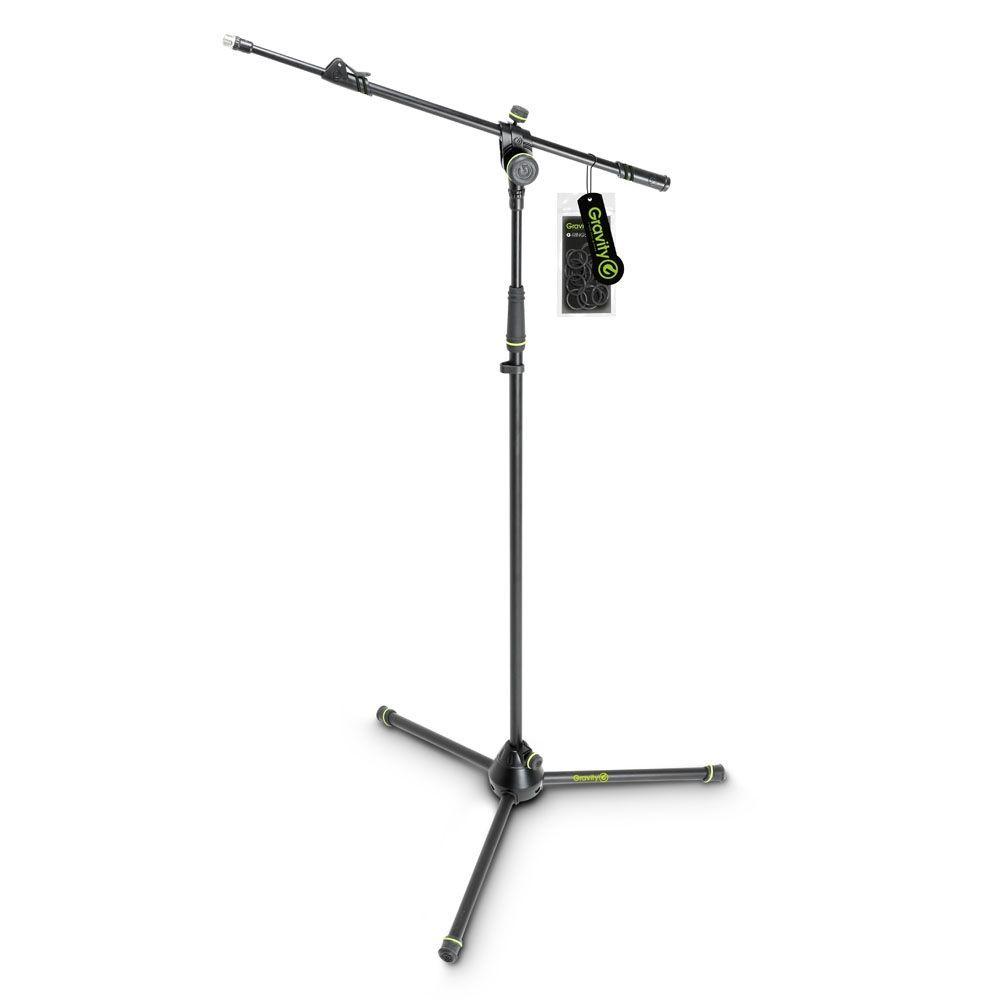 Gravity MS 4322 B  Mikrofonstativ mit Ausziehgalgen und 3-Bein Klappfuß schwarz