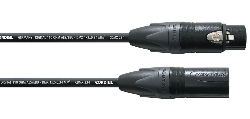 DMX-Kabel Neutrik Cordial CPD 10 FM, 3 pol. 10 Meter, schwarz