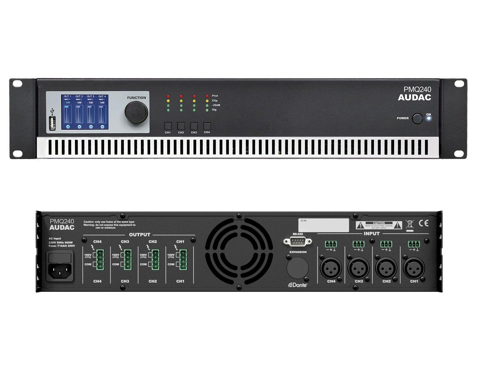 Audac PMQ 240  4-Kanal 100V Endstufe, Installationsverstärker