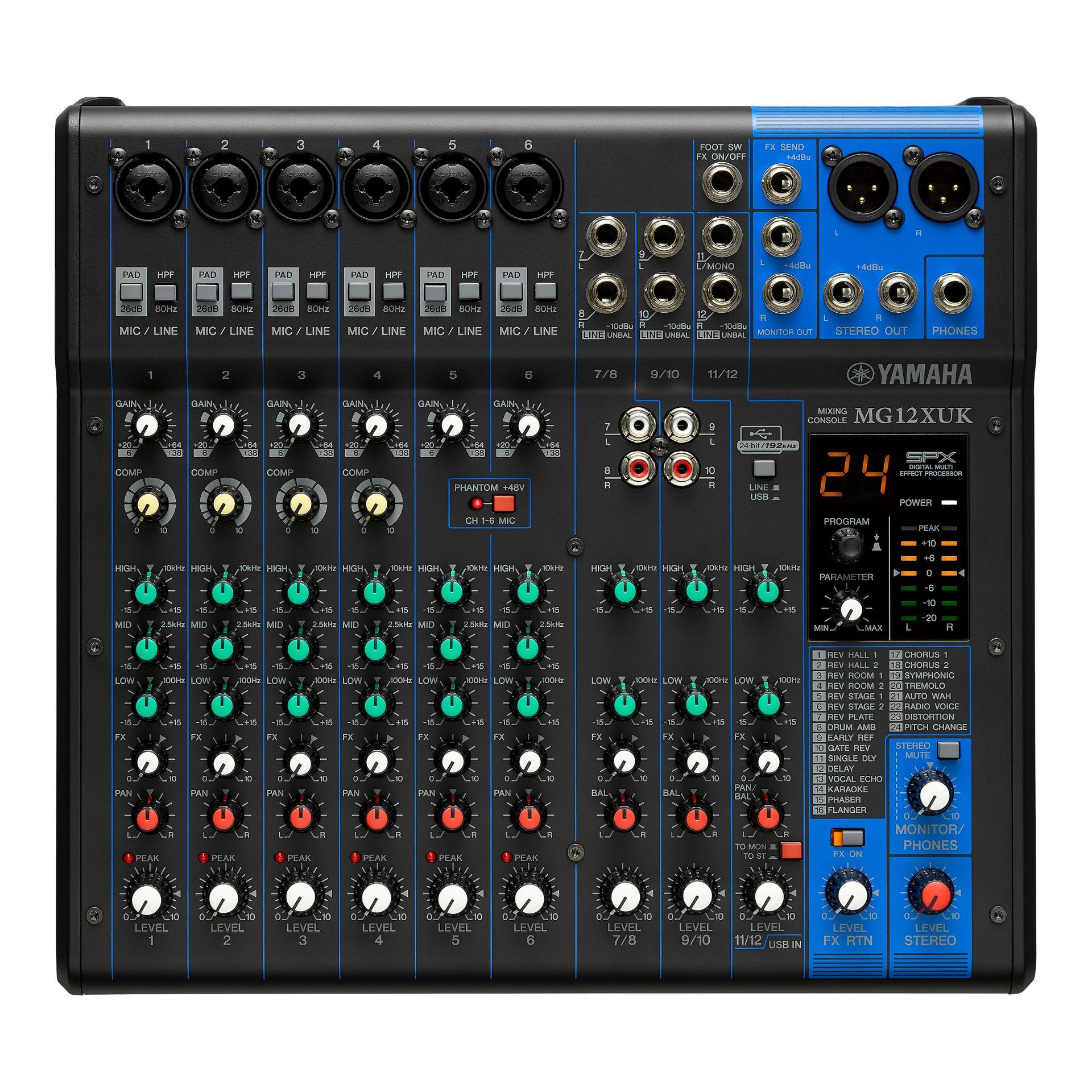 Yamaha MG12 XUK Mixer, SPX Effekt, USB, 6 Mikrofoneingänge, 4 Stereoeingänge