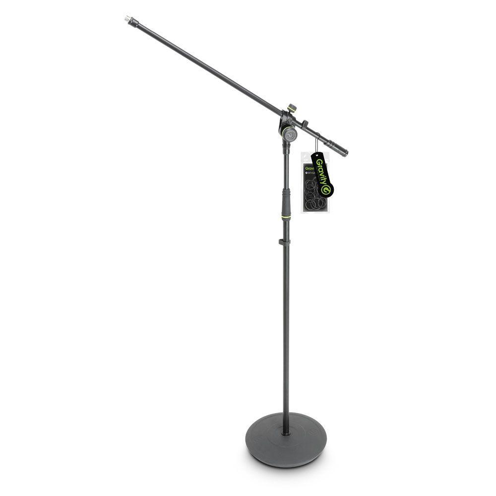 Gravity MS 2321 B  Mikrofonstativ mit Rundfuß und Schwenkarm schwarz