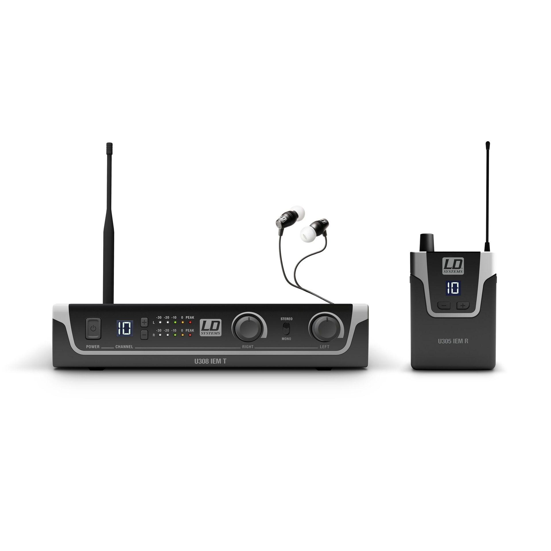 "LD Systems U308 IEM HP In-Ear Set 823 - 832 MHz und 863 - 865 MHz , 9,5"""