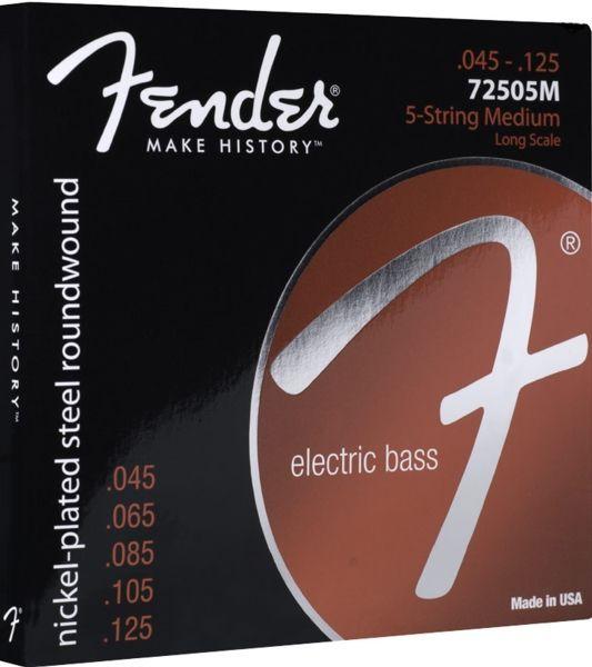 Fender 7250-5M E-Bass Saiten, Nickel Plated Steel 5-String Bass 045-125
