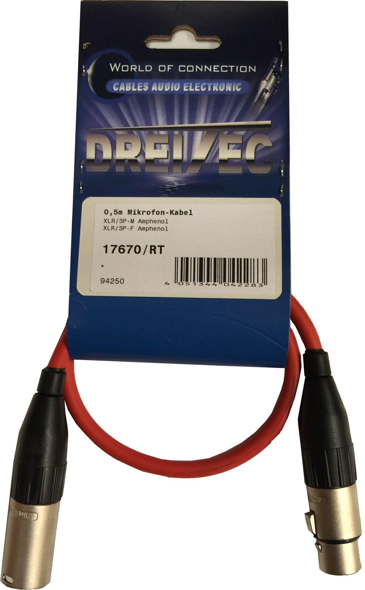 Mikrofonkabel Alcatel XLR male/female, 0,5 Meter, rot