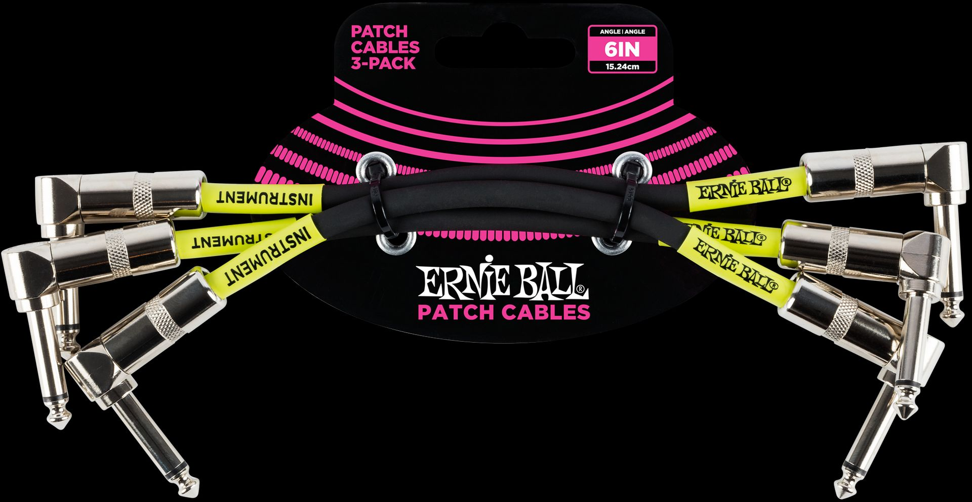 Ernie Ball EB6050 Patchkabel 15cm gewinkelt/gewinkelt 3er Pack schwarz