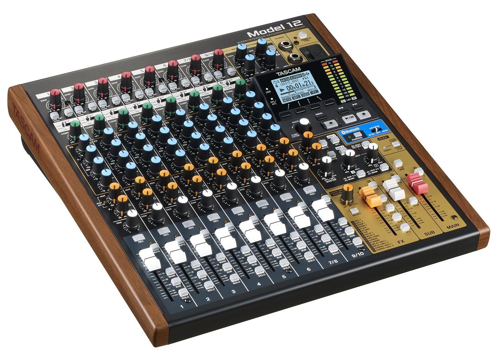 Tascam Model 12 Digitalmixer mit USB Audiointerface, Recorder und DAW-Steuerung
