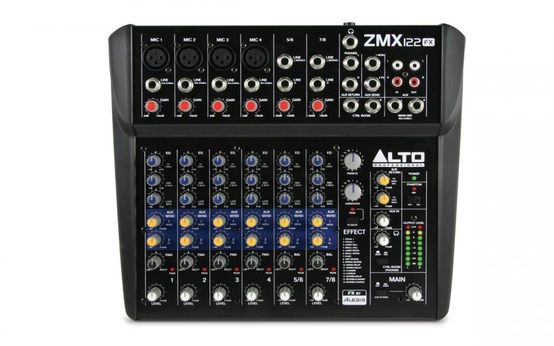 Alto ZMX122FX  ZEPHYR Mixer, 4 Mikrofoneingänge, 2 Stereoinputs, Effekt, 48V, EQ