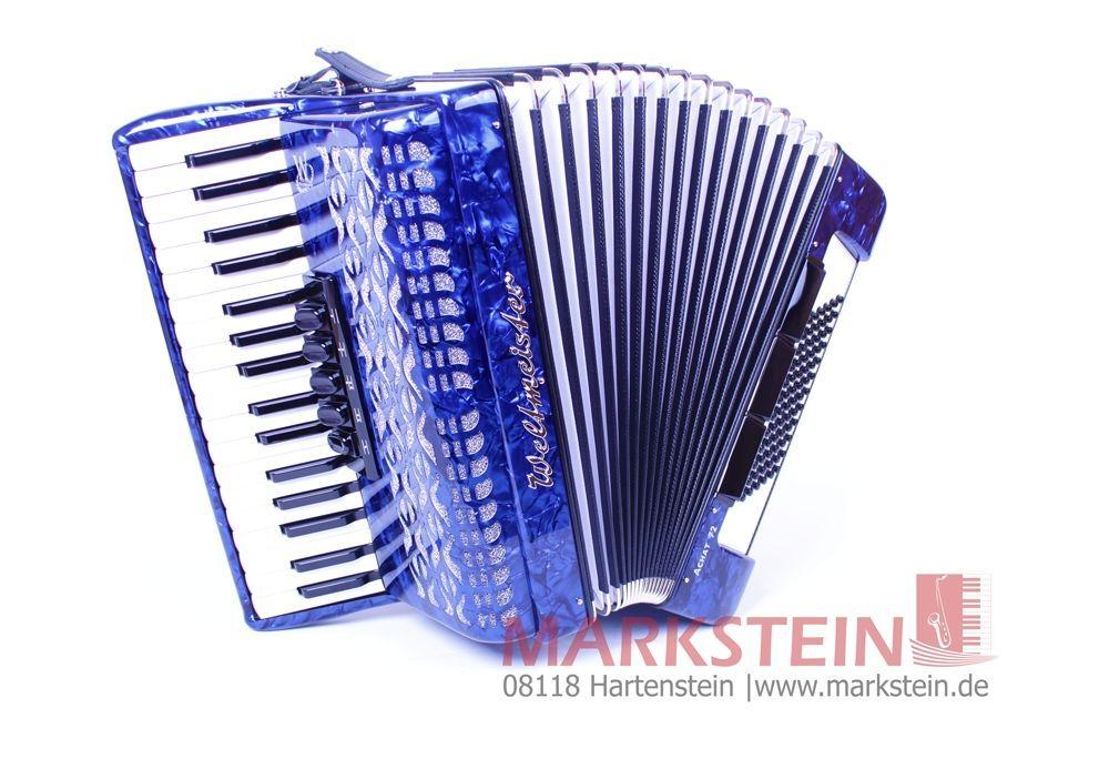 "Weltmeister Achat 72 Akkordeon blau ""Stylish"", 34/72/3/5/3  72 Bässe"