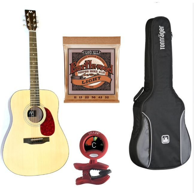 Mark-Westerngitarren SET Advanced, Paket: Gitarre, Tasche, Tuner & Saiten