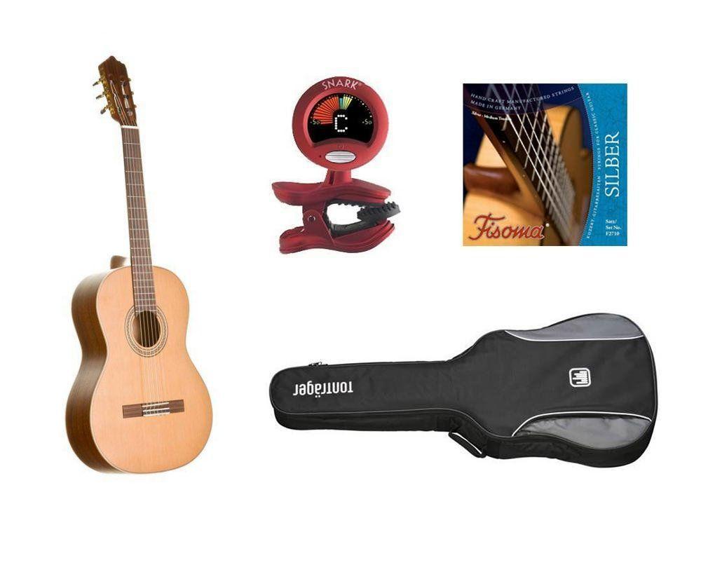 MarkGuitar Konzertgitarren SET Advanced, Paket: Klassikgitarre, Tasche, Zubehör