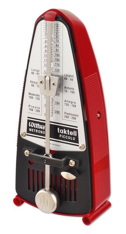 Wittner 834 Metronom Piccolo, rubinrot, mechanisches Taktell, Pendel ohne Glocke