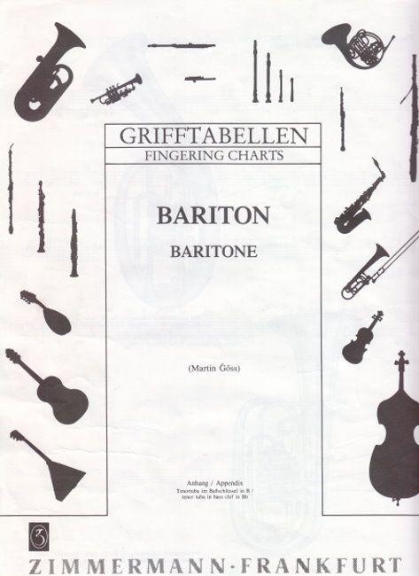 Noten Grifftabelle Bariton doppelte DIN A4 Seite Zimmermann 90116