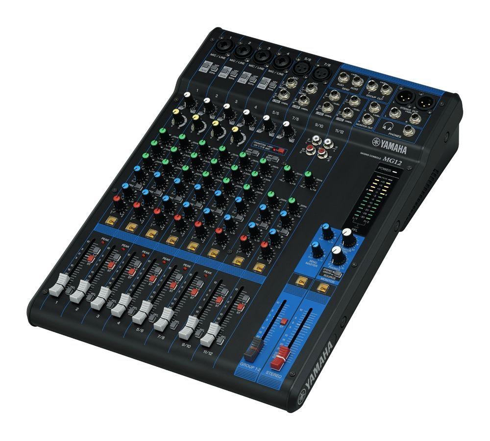 Yamaha MG12 Mixer, 4 Combi Mikrofon/Line Eingänge + 2 Mik/Stereo + 2 Stereo-IN