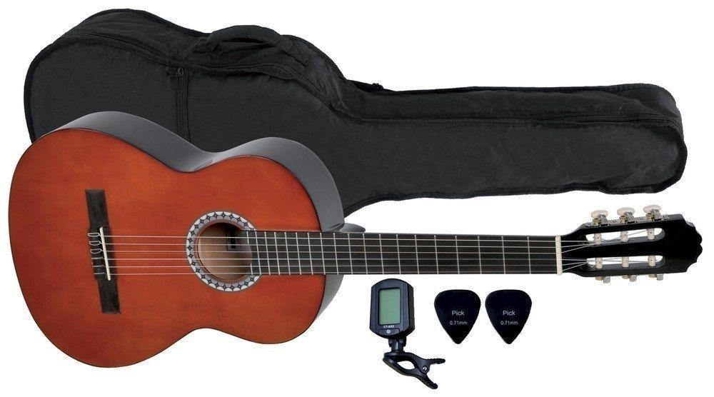 Einsteigerset Konzertgitarre 4/4-Größe walnussfarbig