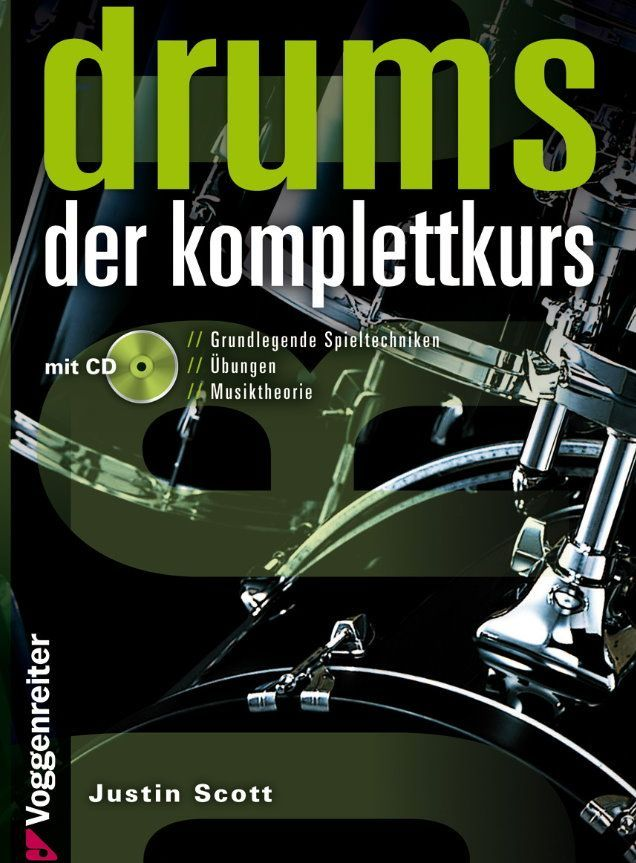 Noten drums der komplettkurs incl. CD Ringbuch Justin Scott Voggenreiter 817