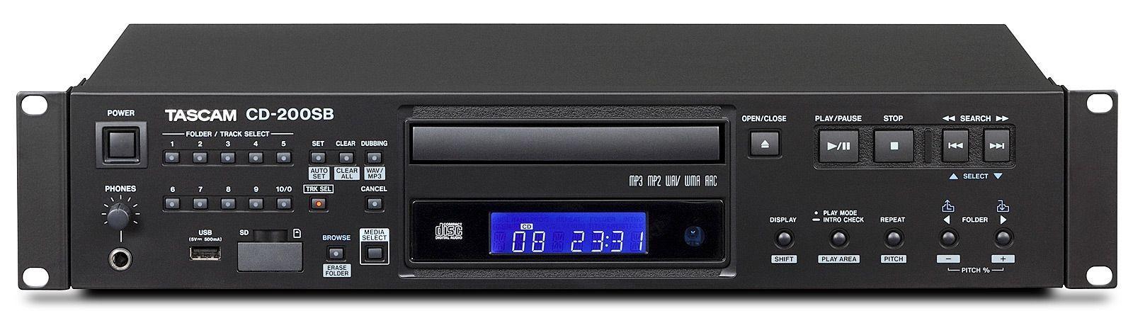 Tascam CD-200 SB Solid-State-/CD-Player mit USB + SD Slot inkl. IR-Fernbedienung