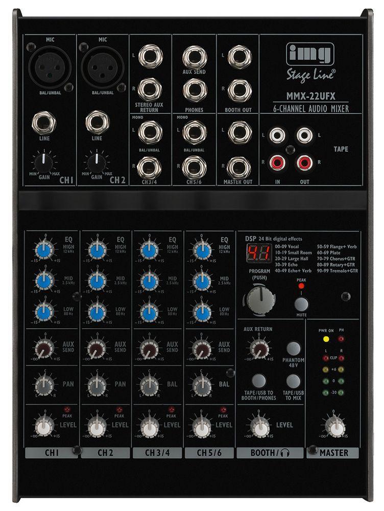 IMG Stage Line MMX-22UFX  4- Kanal Mixer mit USB-Audiointerface und Effekt