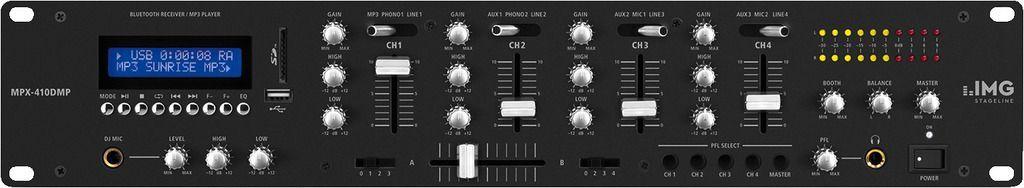 """IMG Stage Line MPX-410DMP 19"""" 2 HE DJ-Mixer mit MP3-Spieler und Bluetooth"""