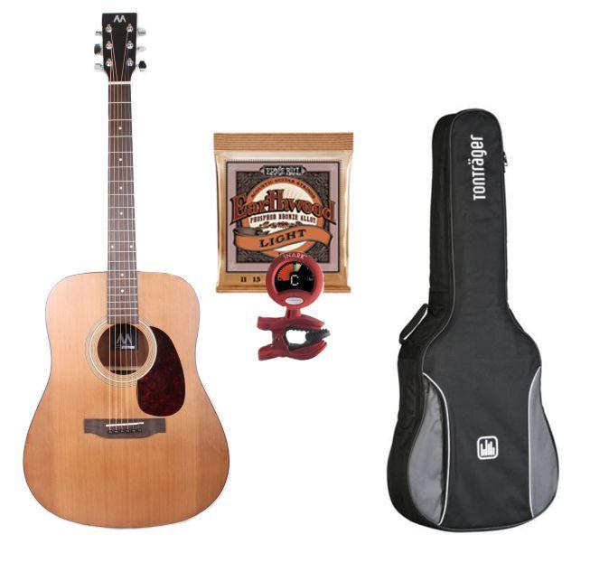 Mark-Westerngitarren SET Advanced II, Paket: Gitarre, Tasche, Tuner & Saiten