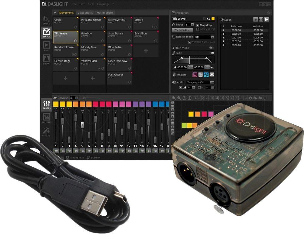 Daslight DVC4 Gold DMX-Interface mit Software für Lichtsteuerungen