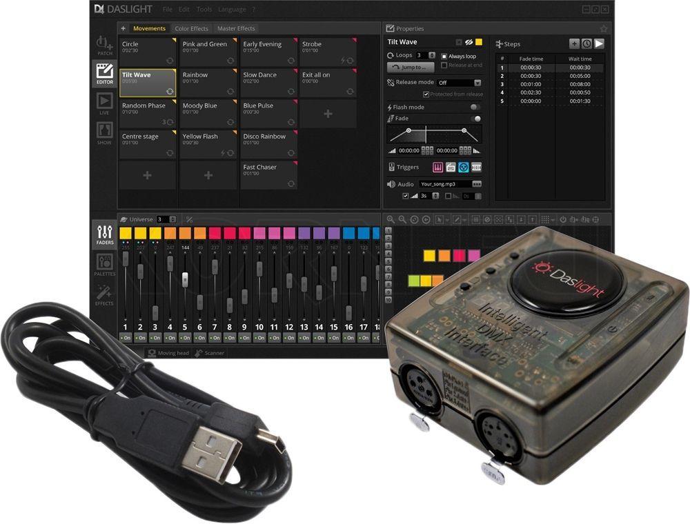 Daslight DVC4 GOLD ZM DMX-Interface mit Ethernet, Software für Lichtsteuerungen