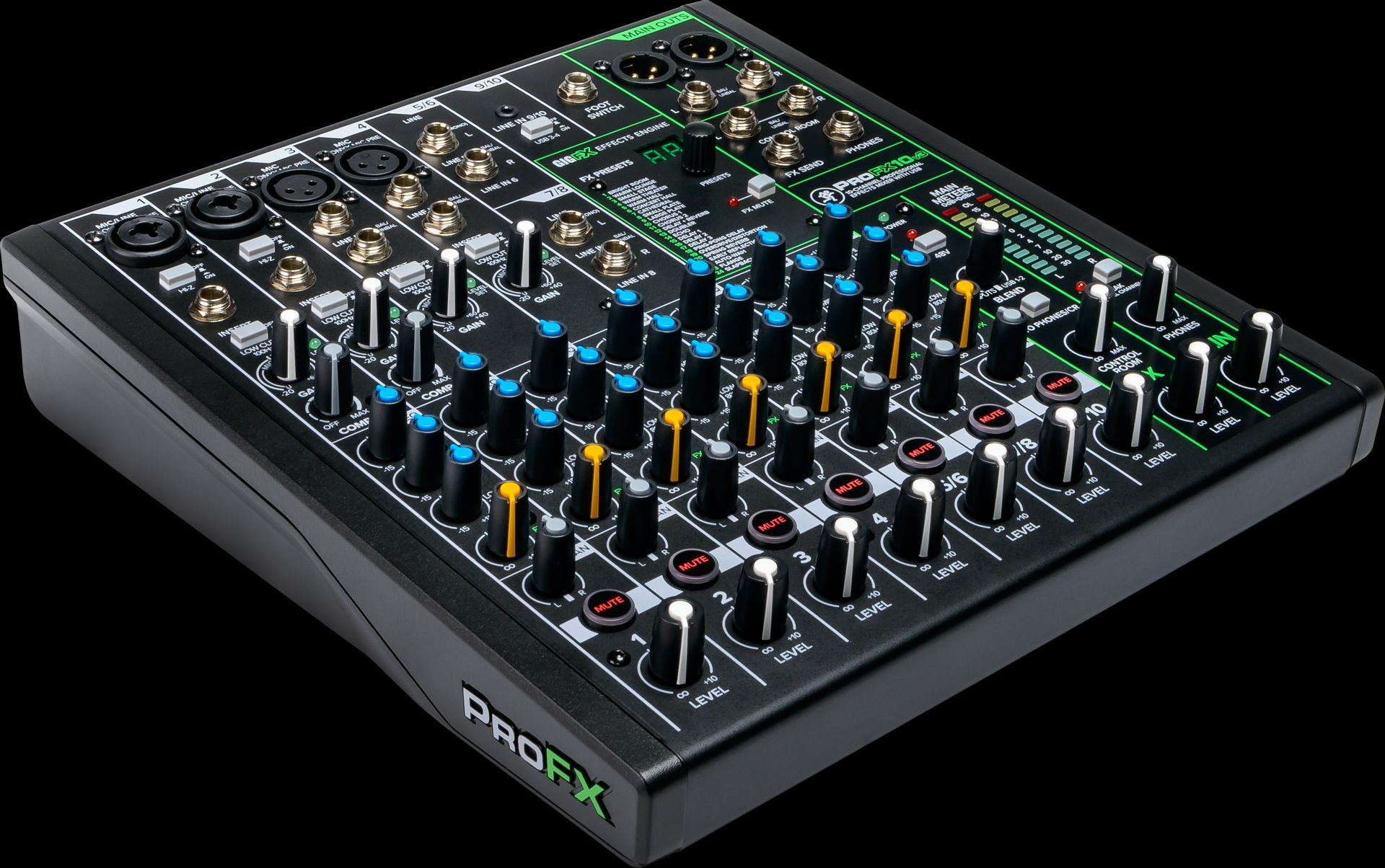 Mackie ProFX10v3 Mischpult 10-Kanal Mixer inkl. Effektgerät, USB-Anschluss