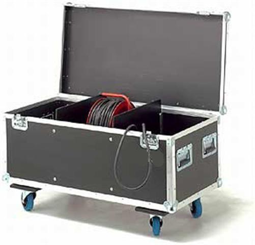 MHM Kabeltruhe mit 3 Fächer incl. Rollbrett 4x 100 mm 2x gebremst, Farbe: braun