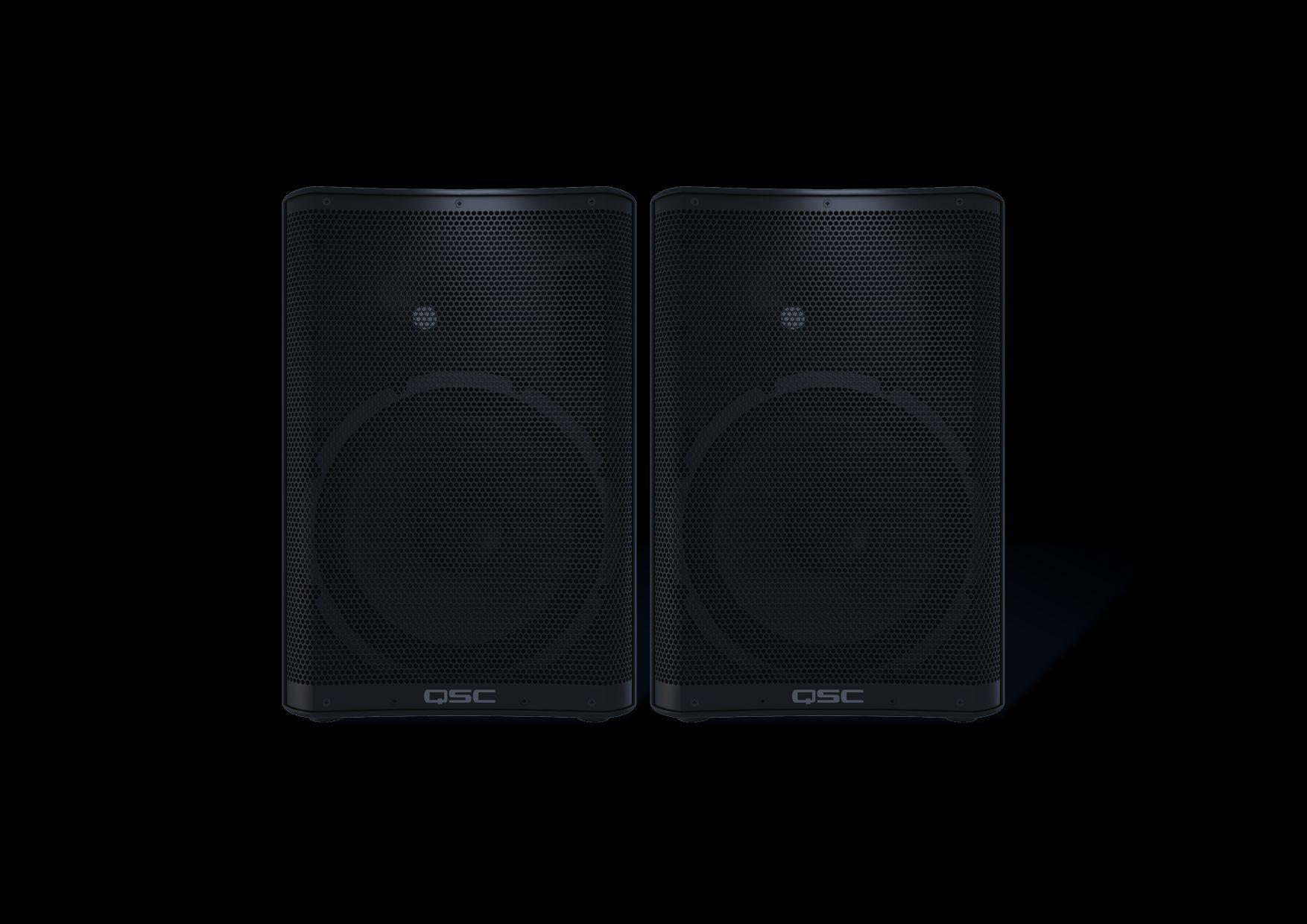 QSC CP12 TwinPack  2 CP12 Aktivboxen Fullrangelautsprecherbox mit 3-Kanal Mixer