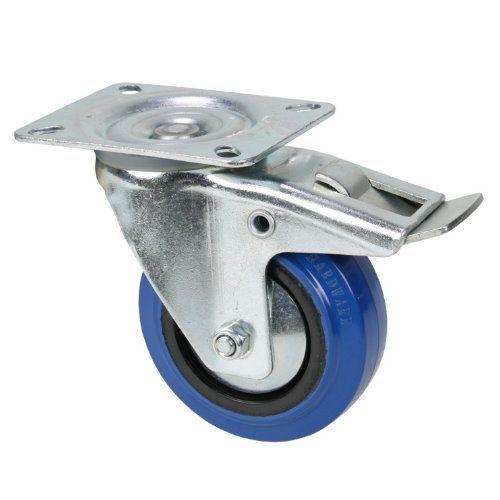 Adam Hall 372191 Blue Wheel Lenkrolle 100mm mit Feststellbremse, Räder für Racks