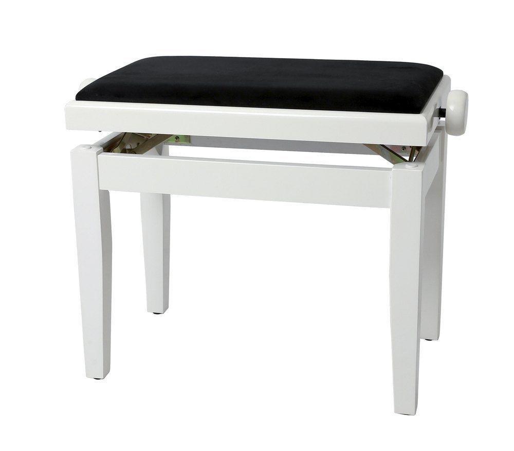 Markstein Klavierbank DELUXE weiß poliert, Sitzbezug schwarz, verstellbar