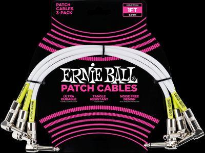 Ernie Ball EB6055 Patchkabel 30cm gewinkelt/gewinkelt 3er Pack weiß