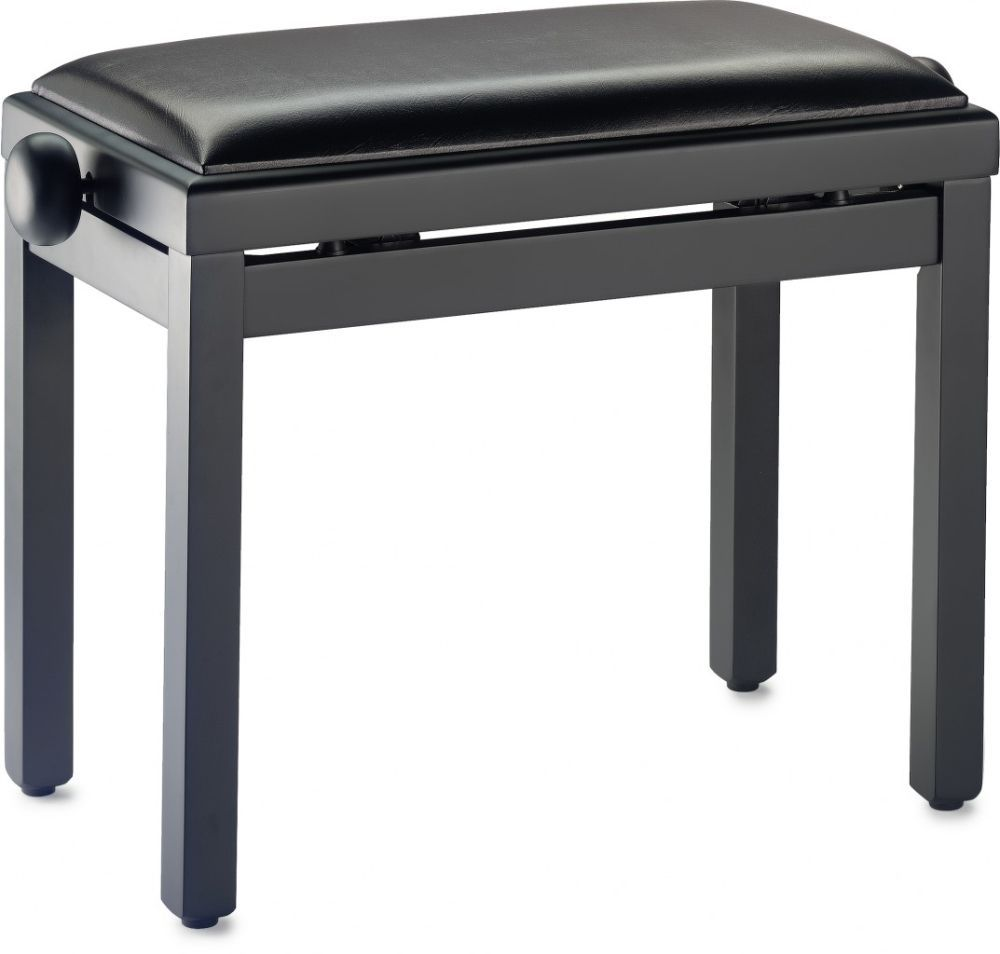 Klavierbank schwarz matt, höhenverstellbar, Sitz Sky schwarz, Pianobank