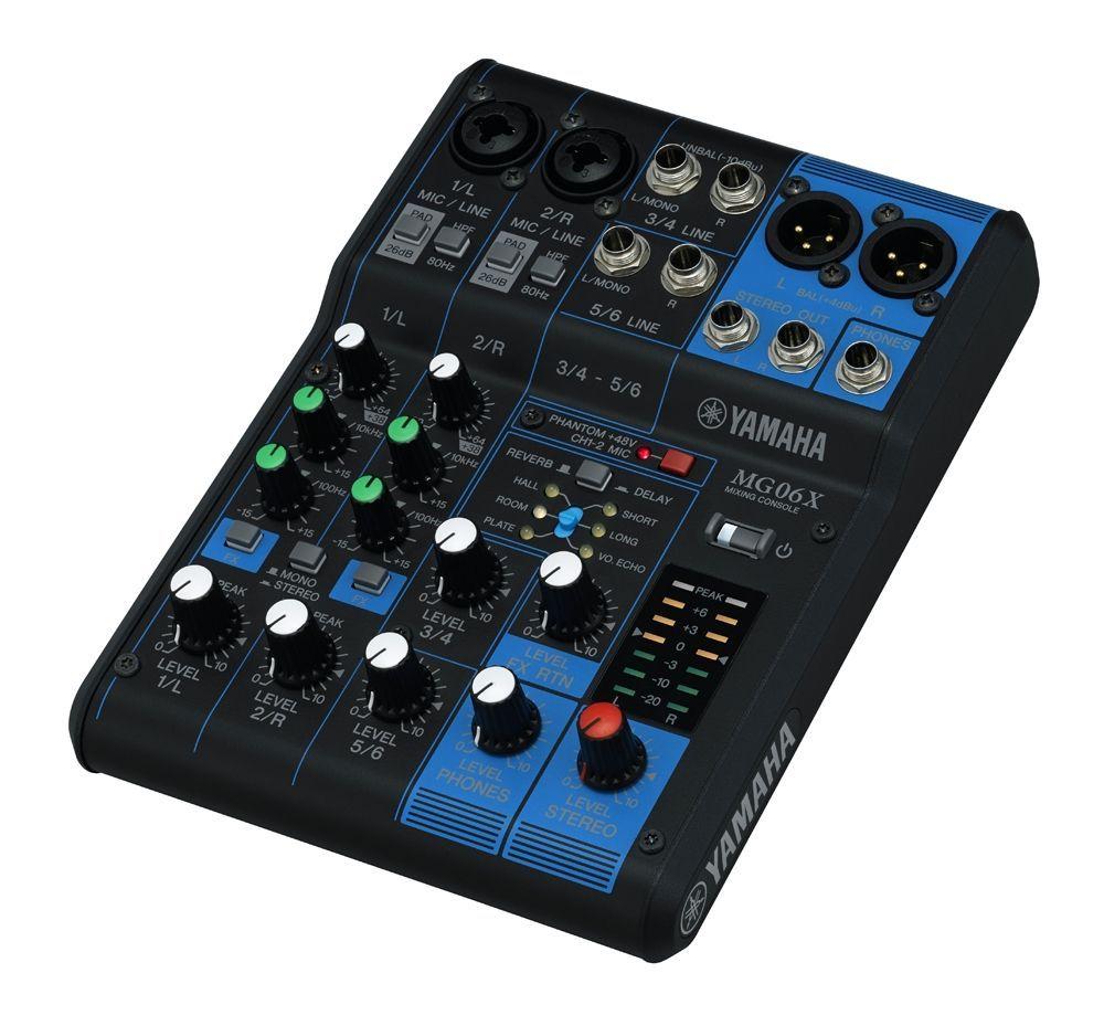Yamaha MG06X Mixer, SPX Effekt, 2 Combi Mikrofon/Line Eingänge + 2 StereoIN