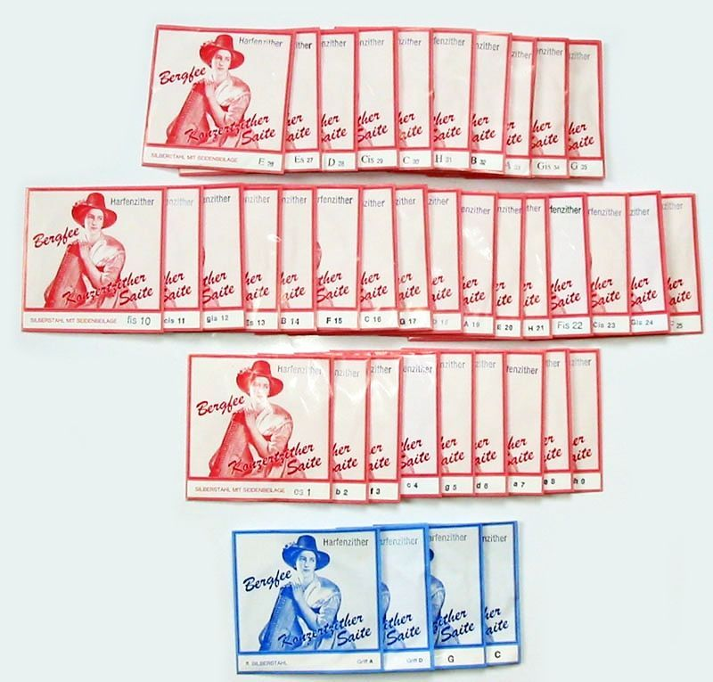 Bergfee Zither-Saiten Satz 1221-MS40, 40-saitig, rote Serie, 661880 Harfenzither