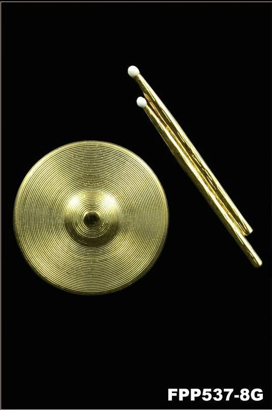 Anstecker Becken FP-Schmuck Cymbal/Sticks #537/8 Musikergeschenke Musikerschmuck