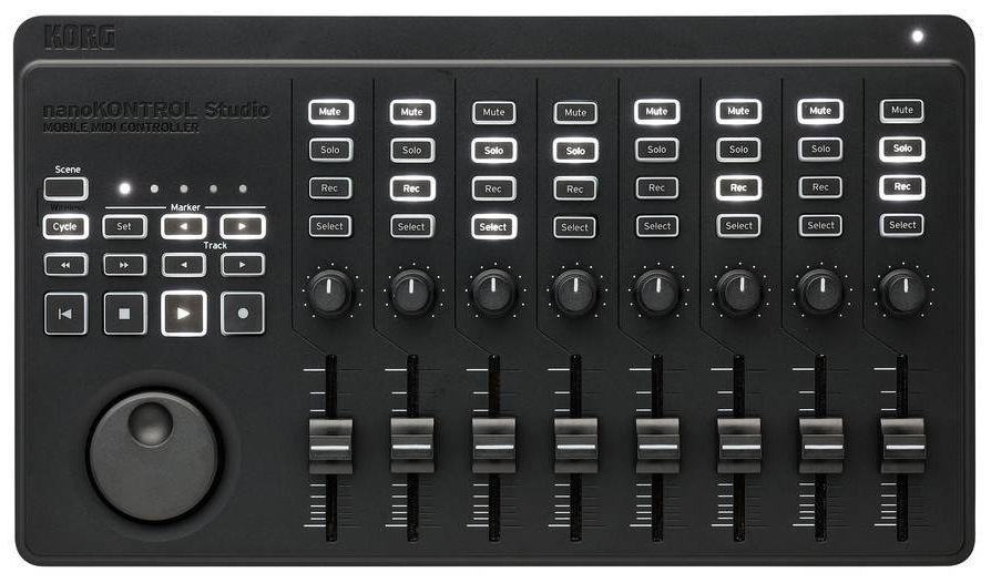 KORG NanoKontrol Studio, kompakter MIDI-Controller, 32 beleuchtete Tasten